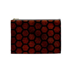 Hexagon2 Black Marble & Reddish Brown Leather Cosmetic Bag (medium)  by trendistuff