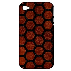 Hexagon2 Black Marble & Reddish Brown Leather Apple Iphone 4/4s Hardshell Case (pc+silicone) by trendistuff