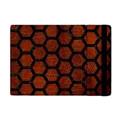 Hexagon2 Black Marble & Reddish Brown Leather Ipad Mini 2 Flip Cases by trendistuff