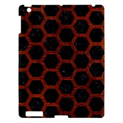 Hexagon2 Black Marble & Reddish Brown Leather (r) Apple Ipad 3/4 Hardshell Case by trendistuff