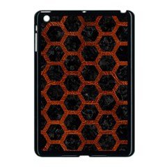 Hexagon2 Black Marble & Reddish Brown Leather (r) Apple Ipad Mini Case (black) by trendistuff