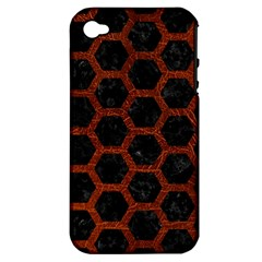 Hexagon2 Black Marble & Reddish Brown Leather (r) Apple Iphone 4/4s Hardshell Case (pc+silicone) by trendistuff