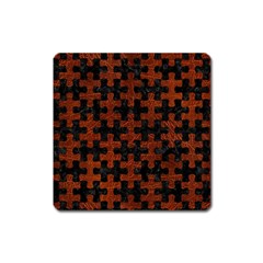 Puzzle1 Black Marble & Reddish Brown Leather Square Magnet