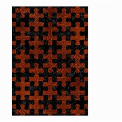 Puzzle1 Black Marble & Reddish Brown Leather Small Garden Flag (two Sides) by trendistuff