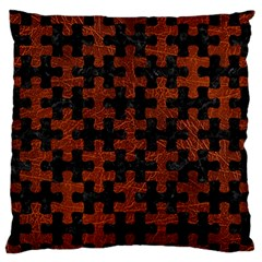 Puzzle1 Black Marble & Reddish Brown Leather Large Flano Cushion Case (two Sides) by trendistuff