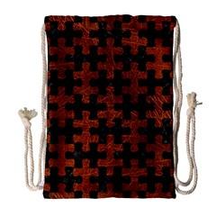 Puzzle1 Black Marble & Reddish Brown Leather Drawstring Bag (large) by trendistuff