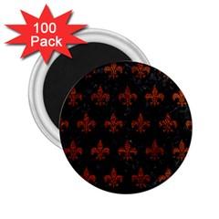 Royal1 Black Marble & Reddish Brown Leather 2 25  Magnets (100 Pack)  by trendistuff