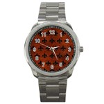 ROYAL1 BLACK MARBLE & REDDISH-BROWN LEATHER (R) Sport Metal Watch Front