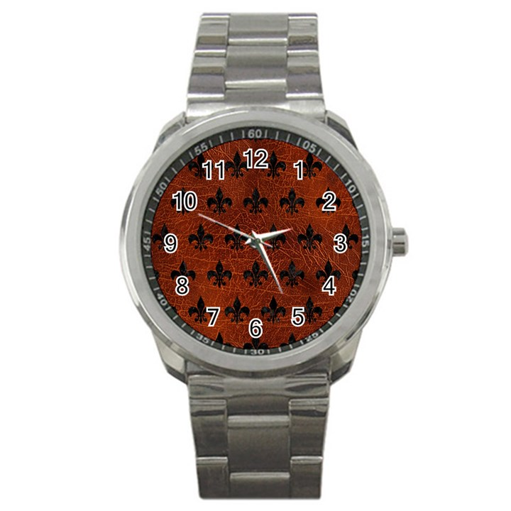 ROYAL1 BLACK MARBLE & REDDISH-BROWN LEATHER (R) Sport Metal Watch