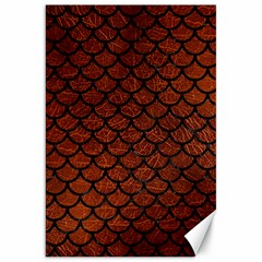 Scales1 Black Marble & Reddish Brown Leather Canvas 20  X 30   by trendistuff