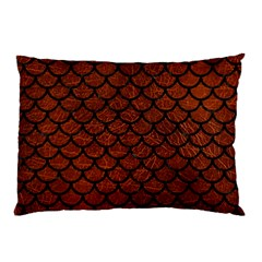 Scales1 Black Marble & Reddish Brown Leather Pillow Case (two Sides) by trendistuff