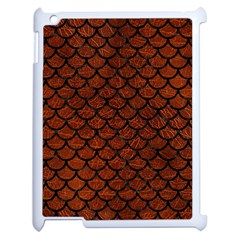 Scales1 Black Marble & Reddish Brown Leather Apple Ipad 2 Case (white) by trendistuff