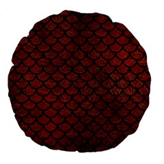 Scales1 Black Marble & Reddish Brown Leather Large 18  Premium Flano Round Cushions by trendistuff