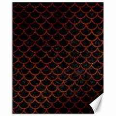 Scales1 Black Marble & Reddish Brown Leather (r) Canvas 16  X 20   by trendistuff