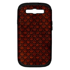 Scales2 Black Marble & Reddish Brown Leather Samsung Galaxy S Iii Hardshell Case (pc+silicone) by trendistuff