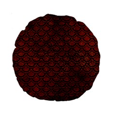 Scales2 Black Marble & Reddish Brown Leather Standard 15  Premium Round Cushions by trendistuff