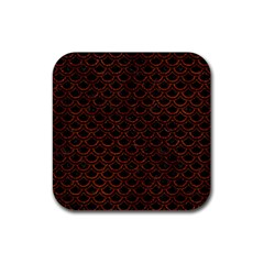 Scales2 Black Marble & Reddish Brown Leather (r) Rubber Square Coaster (4 Pack)  by trendistuff