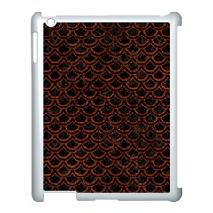 Scales2 Black Marble & Reddish Brown Leather (r) Apple Ipad 3/4 Case (white) by trendistuff