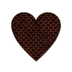 Scales3 Black Marble & Reddish Brown Leather (r) Heart Magnet by trendistuff