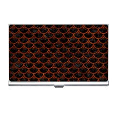 Scales3 Black Marble & Reddish Brown Leather (r) Business Card Holders by trendistuff