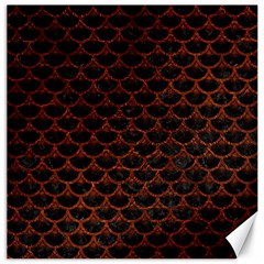 Scales3 Black Marble & Reddish Brown Leather (r) Canvas 16  X 16   by trendistuff