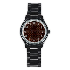 Scales3 Black Marble & Reddish Brown Leather (r) Stainless Steel Round Watch by trendistuff