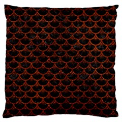 Scales3 Black Marble & Reddish Brown Leather (r) Large Flano Cushion Case (two Sides) by trendistuff
