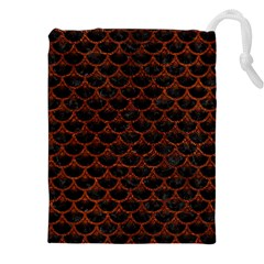 Scales3 Black Marble & Reddish Brown Leather (r) Drawstring Pouches (xxl) by trendistuff