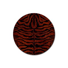 Skin2 Black Marble & Reddish Brown Leather Rubber Coaster (round)  by trendistuff