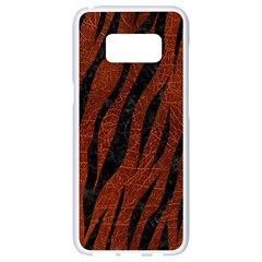 Skin3 Black Marble & Reddish Brown Leather Samsung Galaxy S8 White Seamless Case by trendistuff