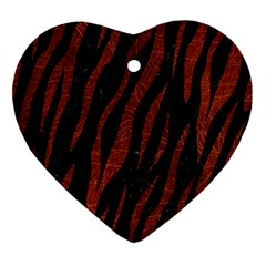Skin3 Black Marble & Reddish Brown Leather (r) Ornament (heart) by trendistuff