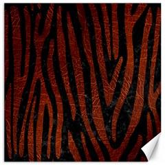 Skin4 Black Marble & Reddish Brown Leather Canvas 12  X 12   by trendistuff