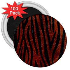 Skin4 Black Marble & Reddish Brown Leather (r) 3  Magnets (100 Pack) by trendistuff