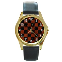 Square1 Black Marble & Reddish Brown Leather Round Gold Metal Watch by trendistuff