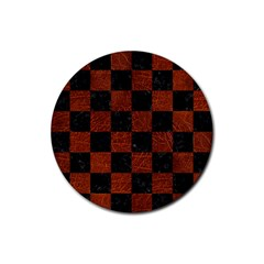 Square1 Black Marble & Reddish Brown Leather Rubber Coaster (round)  by trendistuff