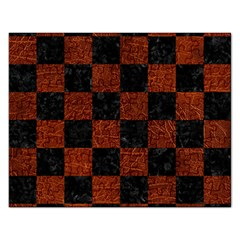Square1 Black Marble & Reddish Brown Leather Rectangular Jigsaw Puzzl by trendistuff