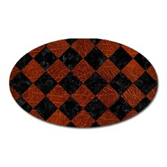 Square2 Black Marble & Reddish Brown Leather Oval Magnet by trendistuff