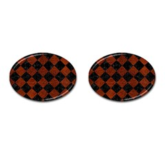 Square2 Black Marble & Reddish Brown Leather Cufflinks (oval) by trendistuff