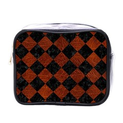 Square2 Black Marble & Reddish Brown Leather Mini Toiletries Bags by trendistuff