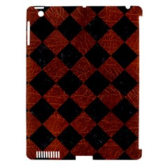 Square2 Black Marble & Reddish Brown Leather Apple Ipad 3/4 Hardshell Case (compatible With Smart Cover) by trendistuff