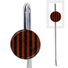 Stripes1 Black Marble & Reddish Brown Leather Book Mark by trendistuff