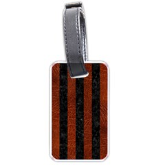 Stripes1 Black Marble & Reddish Brown Leather Luggage Tags (one Side)  by trendistuff
