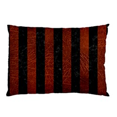 Stripes1 Black Marble & Reddish Brown Leather Pillow Case (two Sides) by trendistuff