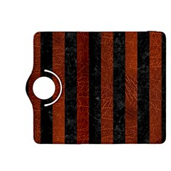 Stripes1 Black Marble & Reddish Brown Leather Kindle Fire Hdx 8 9  Flip 360 Case by trendistuff