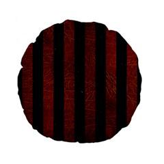 Stripes1 Black Marble & Reddish Brown Leather Standard 15  Premium Flano Round Cushions by trendistuff