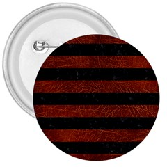Stripes2 Black Marble & Reddish Brown Leather 3  Buttons by trendistuff