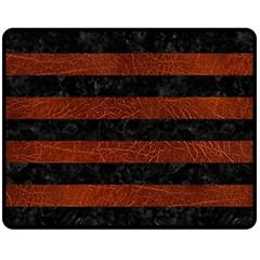 Stripes2 Black Marble & Reddish Brown Leather Fleece Blanket (medium)  by trendistuff