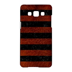 Stripes2 Black Marble & Reddish Brown Leather Samsung Galaxy A5 Hardshell Case  by trendistuff
