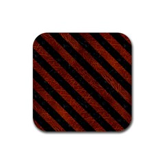 Stripes3 Black Marble & Reddish Brown Leather Rubber Square Coaster (4 Pack)  by trendistuff
