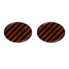 Stripes3 Black Marble & Reddish Brown Leather (r) Cufflinks (oval) by trendistuff